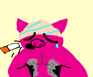 pig throws up a cigarette