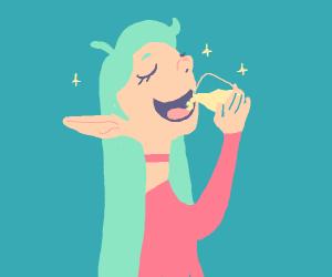Elf drinking lemonade