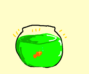 Fish bowl filled with magic potion