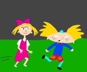 girl chasing boy