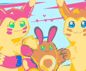 Pikachu couple and baby look terrifying