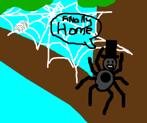 Spider with Top Hat is Glad to be Home