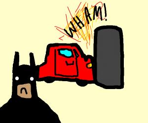 Batman infront of a crashed car he depressed