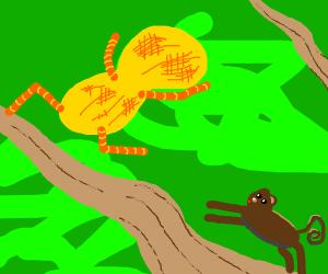 Monkey chases peanut