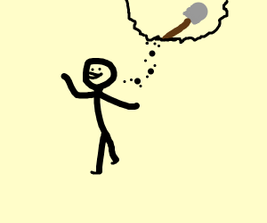Man thinks of shovel