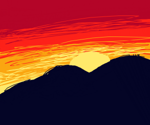 Sunset obscured by a mountain
