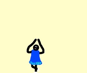 black ballernia in a blue dress dancing