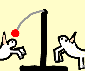 Two unicorns playing with a red tetherball