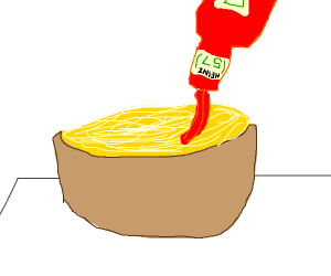 Ketchup being poured onto spaghetti in a bowl