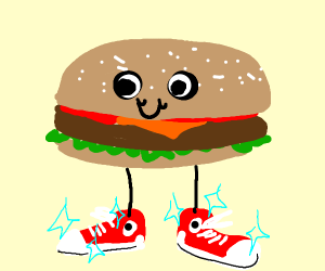 burger with sick sneakers