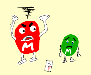 Red m&m yells at blue m&m