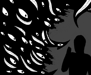 Evil Shadow Threatens Man