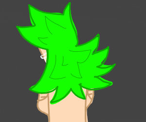 Sad, shirtless woman with spiky green hair
