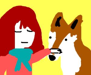 Girl Pets Fox