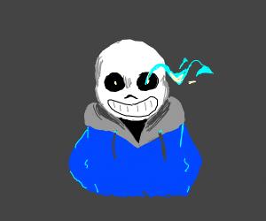 a skeleton with lazer eyes