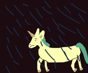 Sad unicorn on a rainy day