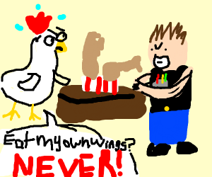 Chicken is forced to eat wings