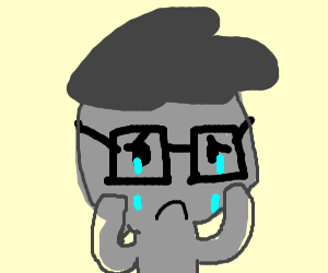 A guy wearing glasses is crying