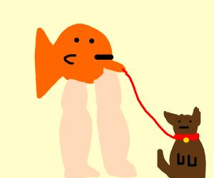 fish walking a dog