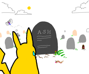 pikachu looking at ashes grave