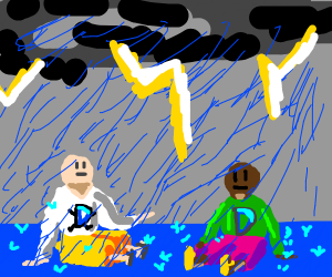 Drawception People Are in a Thunderstorm