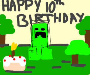 mincraft creeper turns 10