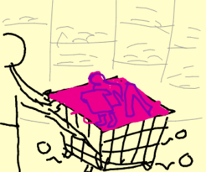 shopping pink clothes in a broken shoppingcar