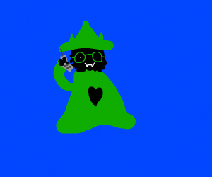Ralsei with a phone, but without scarf ;-;