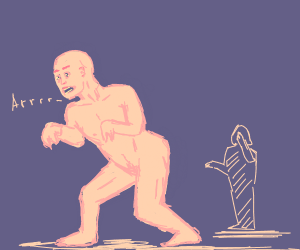 Naked man pretending to be a trex