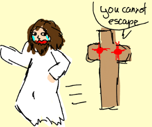 jesus runs away from cross