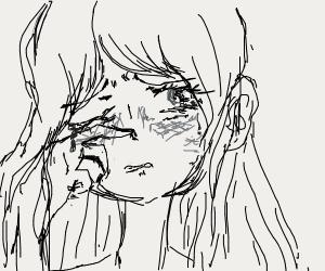 teary anime eye