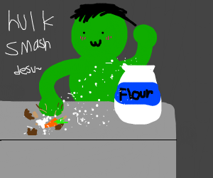 Hulk busting  a nut on carrot and flour?