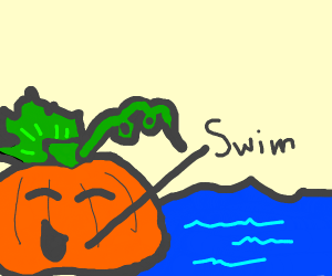 Pumpkin swimming