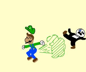 Luigi defeats sans with his deadly fart gas