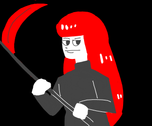 Awesome looking girl with a scythe