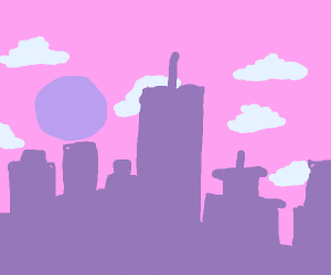 A City With A Pink Sky In The Afternoon