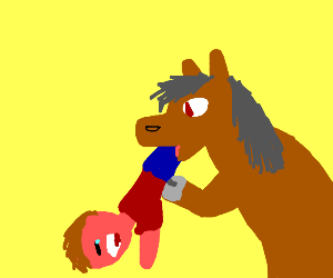 horse eating a human