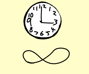 Infinity sign and clock