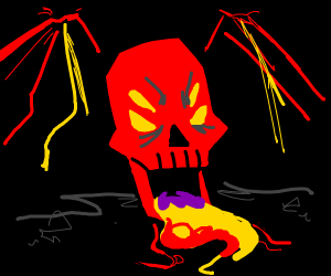 A big red lava scary skull with 4 eyes