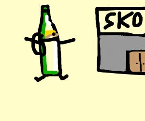 Beer bottle goes to school