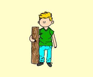 a boy and a wooden board