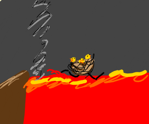 A Nest crossing over Lava