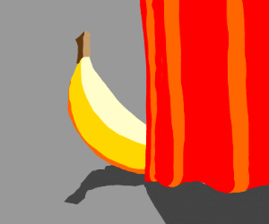 banana half covered by a curtain