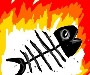 fish bones burning in a fire