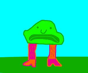 green blob fish with pink and orange leg