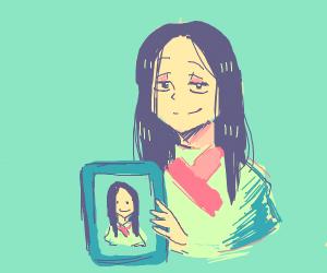 The Mona Lisa holding The Mona Lisa's face