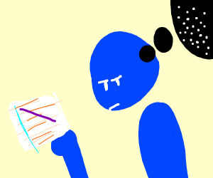 Blue Man thinks about dots and drew prpl line
