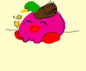 Duck sitting on Kirby's head