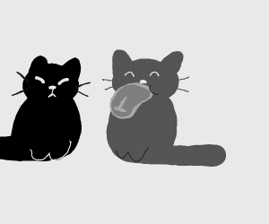 Two cats (one is eating meat)