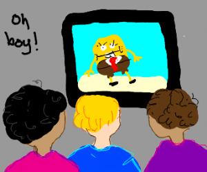 3 kids watching SpongeBob
